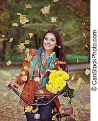 mulher, feliz, bicicleta, bonito