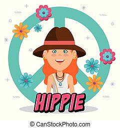 mulher feliz, caricatura, hippie
