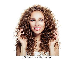 mulher feliz, com, bonito, cabelo ondulado, isolado, branco, fundo