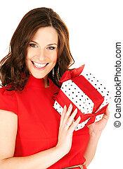 mulher feliz, com, caixa presente