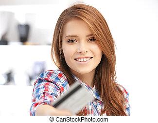 mulher feliz, com, cartão crédito