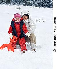 mulher feliz, com, dela, filha, em, tempo inverno