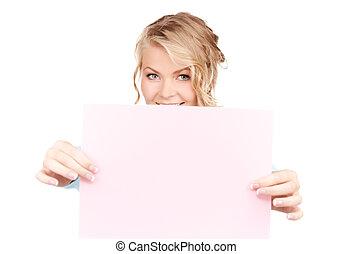 mulher feliz, com, em branco, tábua