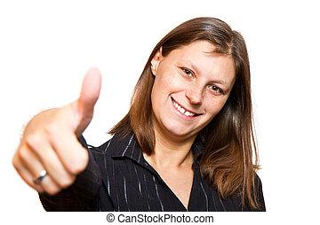 mulher feliz, com, polegares cima
