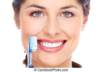 mulher feliz, com, um, toothbrush., dental, care.