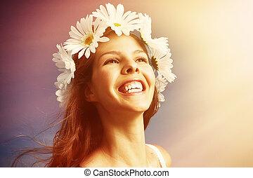mulher feliz, em, meadow.