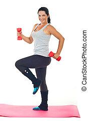 mulher feliz, fazendo, condicão física, com, barbell