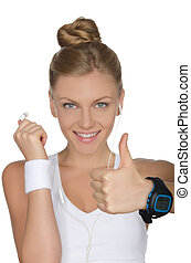 mulher feliz, fones, relógio