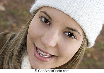 mulher, feliz