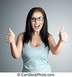 mulher feliz, gesticule, bom
