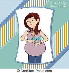 mulher feliz, grávida