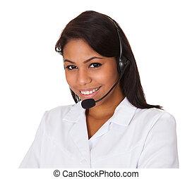 mulher feliz, headset desgastando
