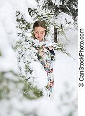 mulher feliz, inverno, neve