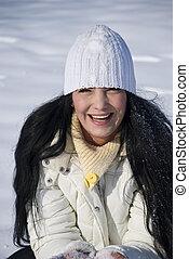 mulher, feliz, neve