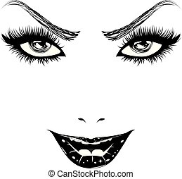 mulher feliz, rosto, em, preto branco