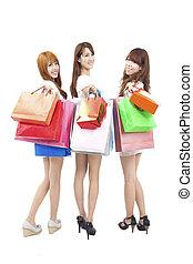 mulher feliz, shopping, asiático, três
