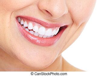 mulher feliz, smile., dental, care.