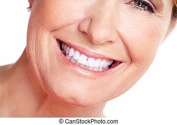 mulher feliz, smile.