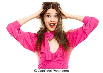 mulher feliz, sorrizo, vestido cor-de-rosa, isolado