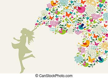 mulher feliz, tempo verão, composição