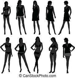 mulher, femininas, menina, moda, langerie