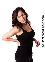 mulher, ferimento, costas