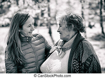 mulher, filha, idoso, dela, feliz