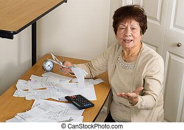 mulher, financeiro, dela, velho, zangado, contas