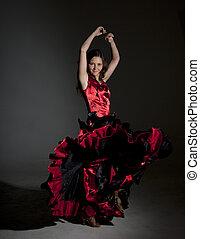 mulher, flamenco, jovem, dançar