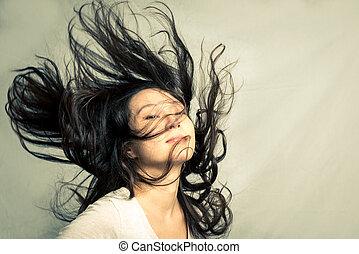 mulher, flicking, dela, cabelo