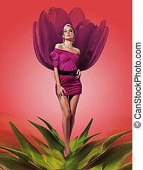 mulher, flor