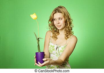 mulher, flor, jovem, abraçando