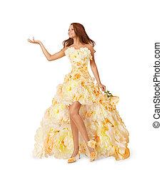 mulher, flor, longo, vestido, menina, anunciar, vazio, mão