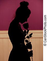 mulher, flor, silueta, jovem, segurando
