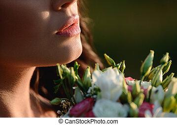 mulher, flores