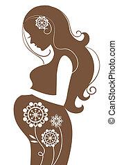 mulher, flores, grávida