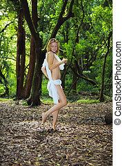 mulher, floresta, jovem