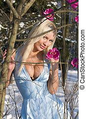 mulher, floresta, orquídea