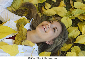 mulher, &, folhas, 2