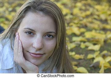 mulher, &, folhas, 7