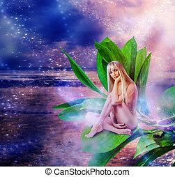 mulher, folhas, pixie, excitado, bonito