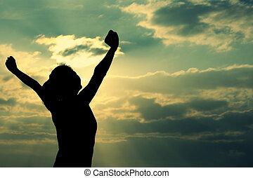 mulher, forte, braços, confiança, abertos