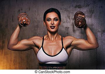 mulher, forte, esportes