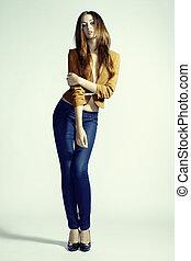mulher, foto, calças brim, jovem, moda, sensual