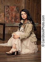 mulher, foto, magnífico, jovem, morena, moda