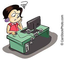 mulher, frustated, negócio