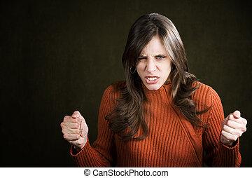 mulher, frustrado, jovem
