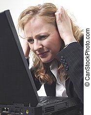 mulher, frustrado, negócio