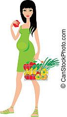 mulher, fruta, compras, grávida