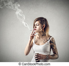 mulher, fumar
